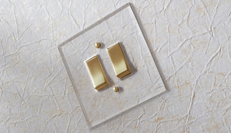 Focus SB Prism clear acrylic plate with polished brass switches to be installed in Savoir Beds VIP showroom displays, Shanghai.