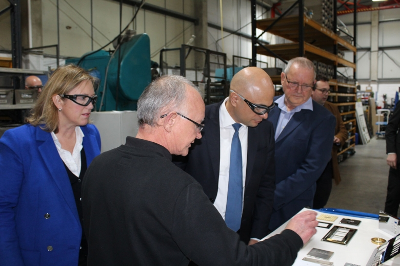 (from left to right) Sally-Ann Hart Conservative Party candidate Hastings and Rye, Chris Turner Focus SB general manager, Sajid Javid Chancellor of the Exchequer, Roger Kemp chairman Focus SB.